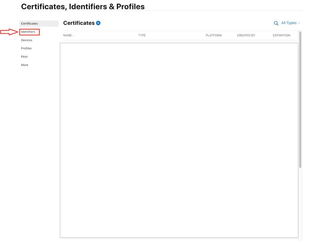 Certificates, Identifiers & Profiles Identifiers