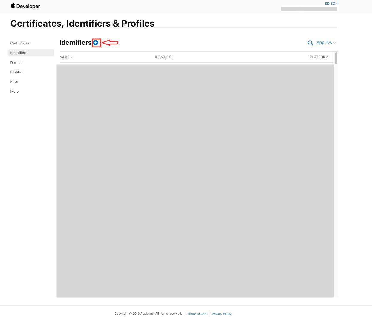 """Certificates, Identifiers & Profiles certificate Identifiers"""" on the screen"""