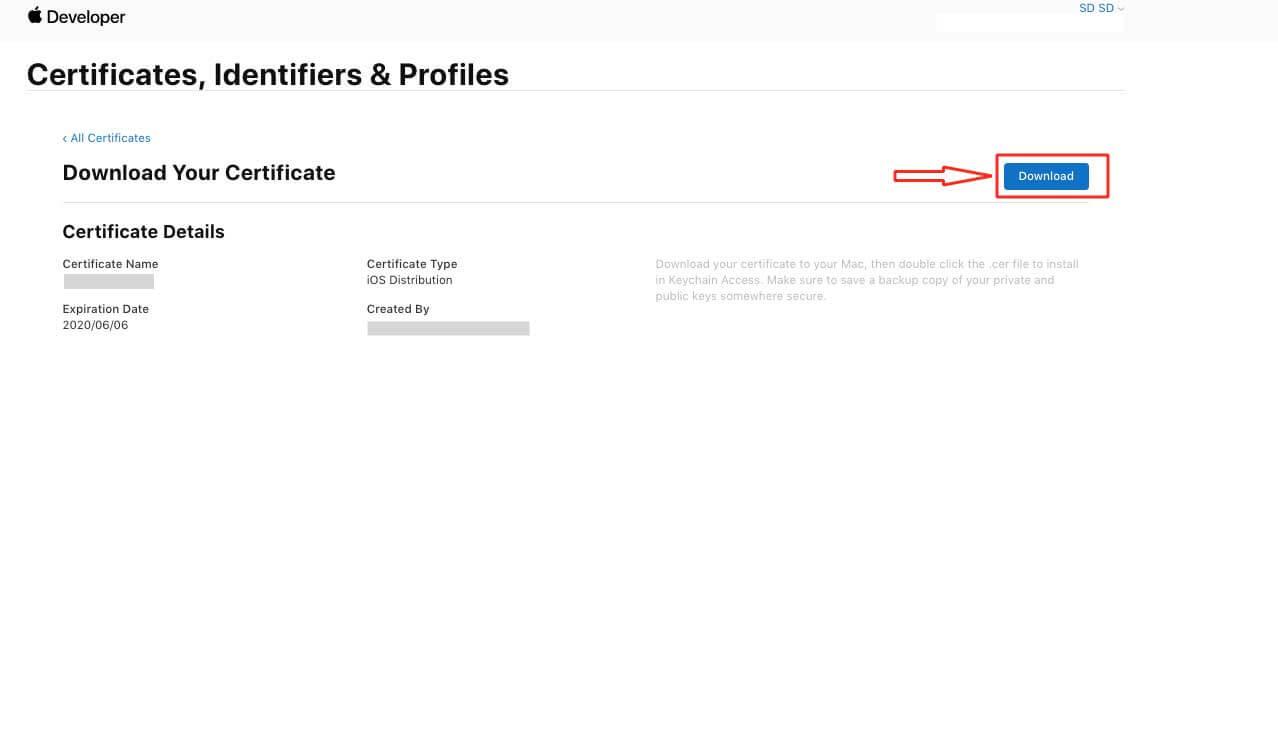 Certificates, Identifiers & Profiles Download