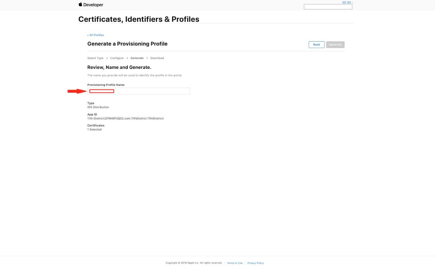 provisioning Profile Name