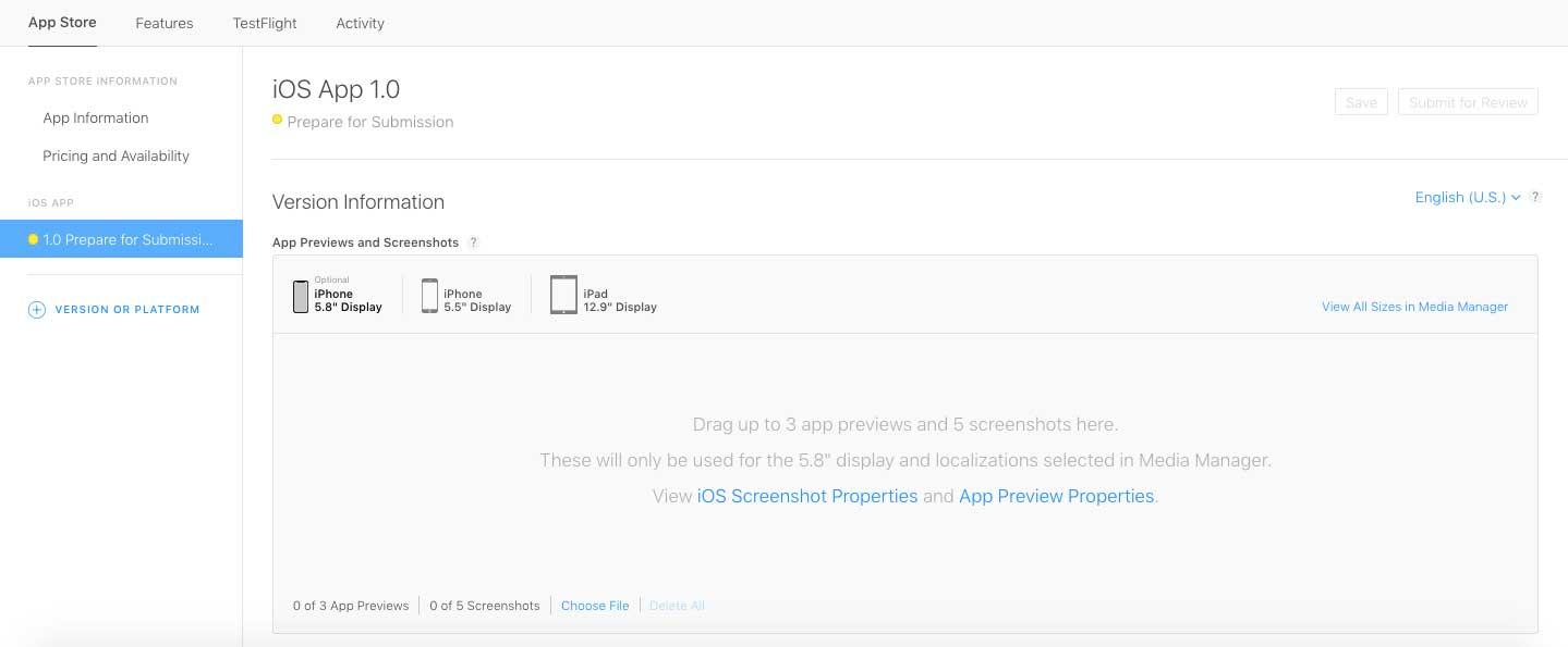 Upload the app screenshots now