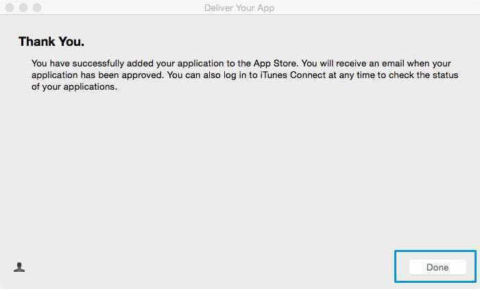 """Now that you have successfully added your mobile app to the Apple App Store, you can click on the """"Done"""" button"""