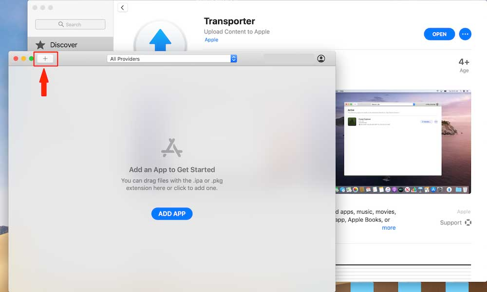 """Click on the """"+"""" icon transporter"""