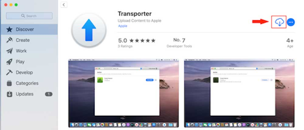 download icon to get the Transporter app