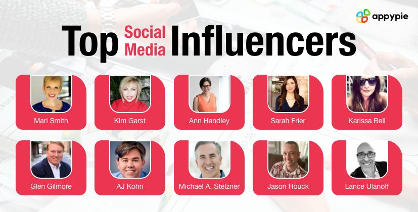 Top Social Media Influencers - Appy Pie