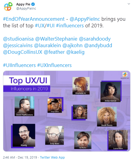 Feature top influencers in your content - Appy Pie