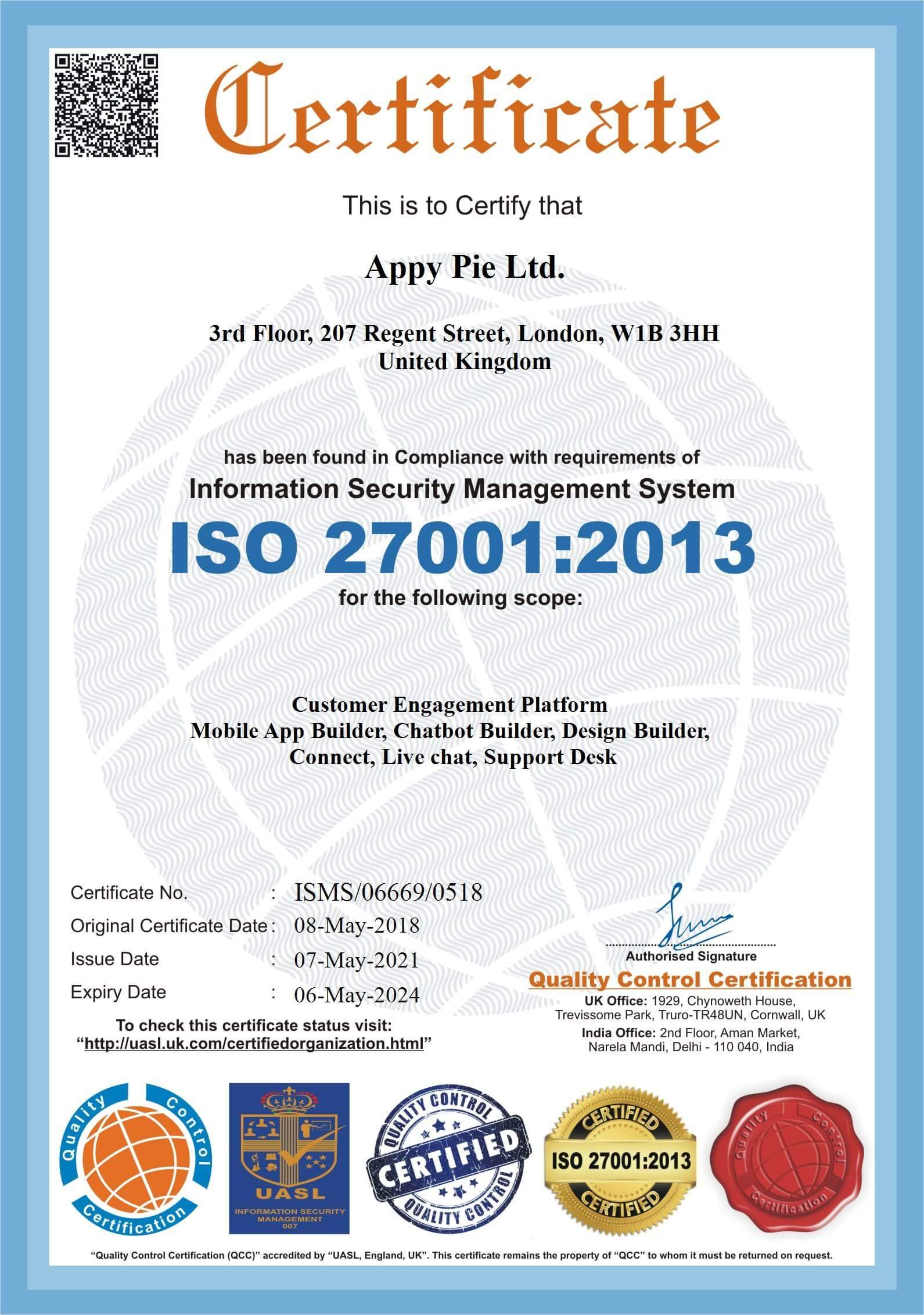 ISO27001 Appy-Pie-Ltd